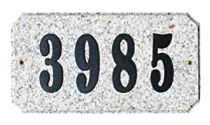 Qualarc EXE-4702AL-PN Executive Rectangle Address Plaque in Autumn Leaf Natural Stone Color with 4-Inch Polymer Numbers