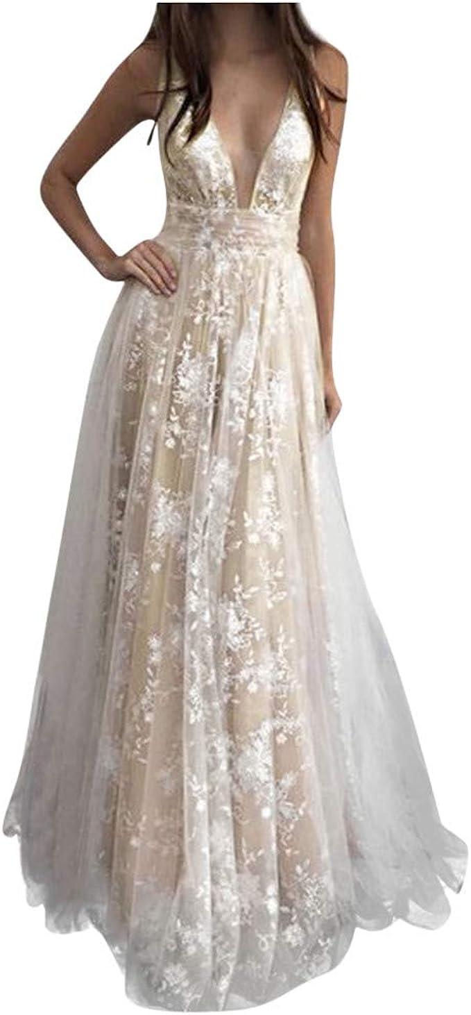 Dream Room Damen Kleid Spitzenkleid Abendkleid Tiefer V