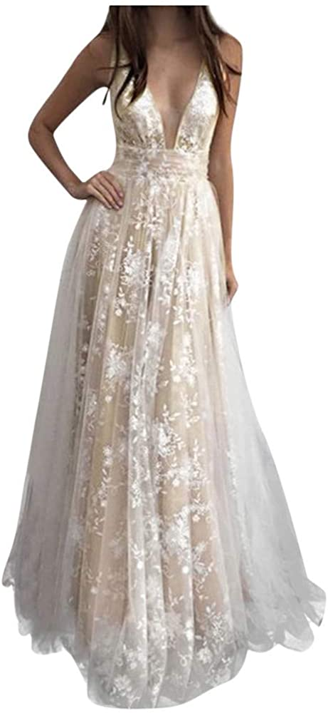Nihewoo Beach Wedding Dresses For Bride Sleeveless Lace Evening Wedding Dresses Bridal Gowns Bridesmaid Long Dress S White1 At Amazon Women S Clothing Store