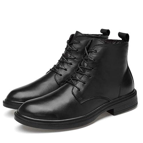 Botines De Cuero Negro para Hombre Zapatos De Tacón Alto Ejército Militar Combate Botas con Cordones Zapatos De Seguridad De Trabajo Zapatos De Policía ...