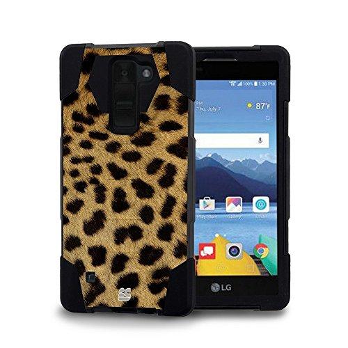 LG K8 V (Verizon) - [Cheetah] Premium Dual Layer Slim Fit [Impact Resistant] Tough Rugged Armor Kickstand Cover Case and Atom LED (Lg 500 Phone Cases)