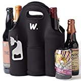 Insulated 6 Pack Beer Carrier with Bottle Opener, Thick Neoprene Cooler Bag. Keeps Cold and...