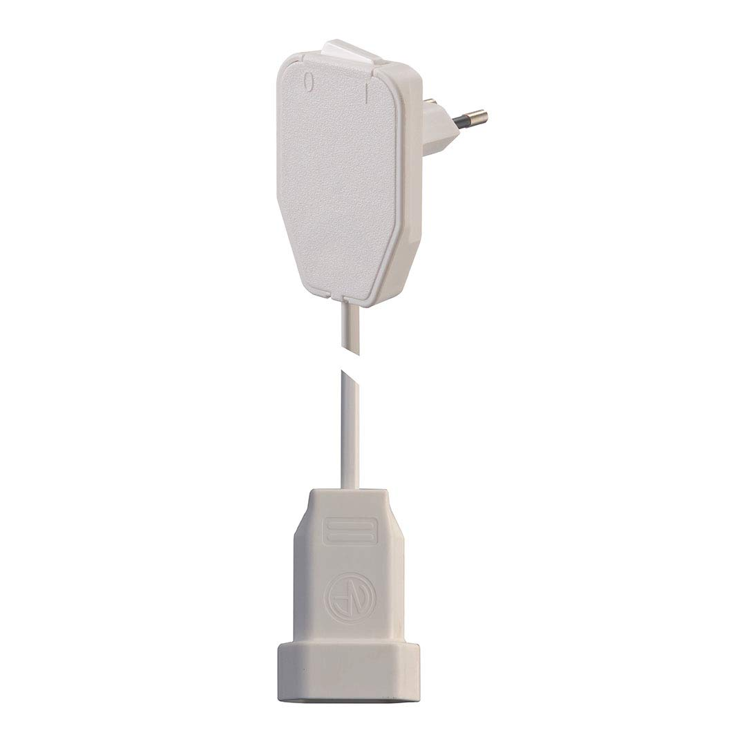 Flachprise m/âle - Euro-Embrayage Strom Verl/ängerungscable blanc 0.80 m NVB