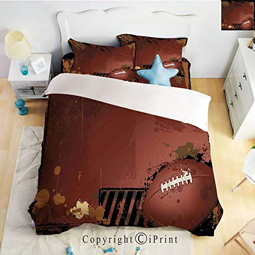 (Bedding 4 Piece Sheet,Maroon Grunge Rugby Theme with Game Elements Competition Win Sports Artisan Image,Brown Black,Full Size,Suitable for Families,Hotels)