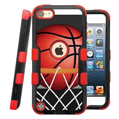 iPod touch 5th / 6th Case, CASECREATOR[TM] For Apple iPod touch 5th / 6th generation () -- NATURAL TUFF Hybrid Rubber Hard Snap-on Case Red Black-BasketBall - Ipod Generations 5th Sports Cases