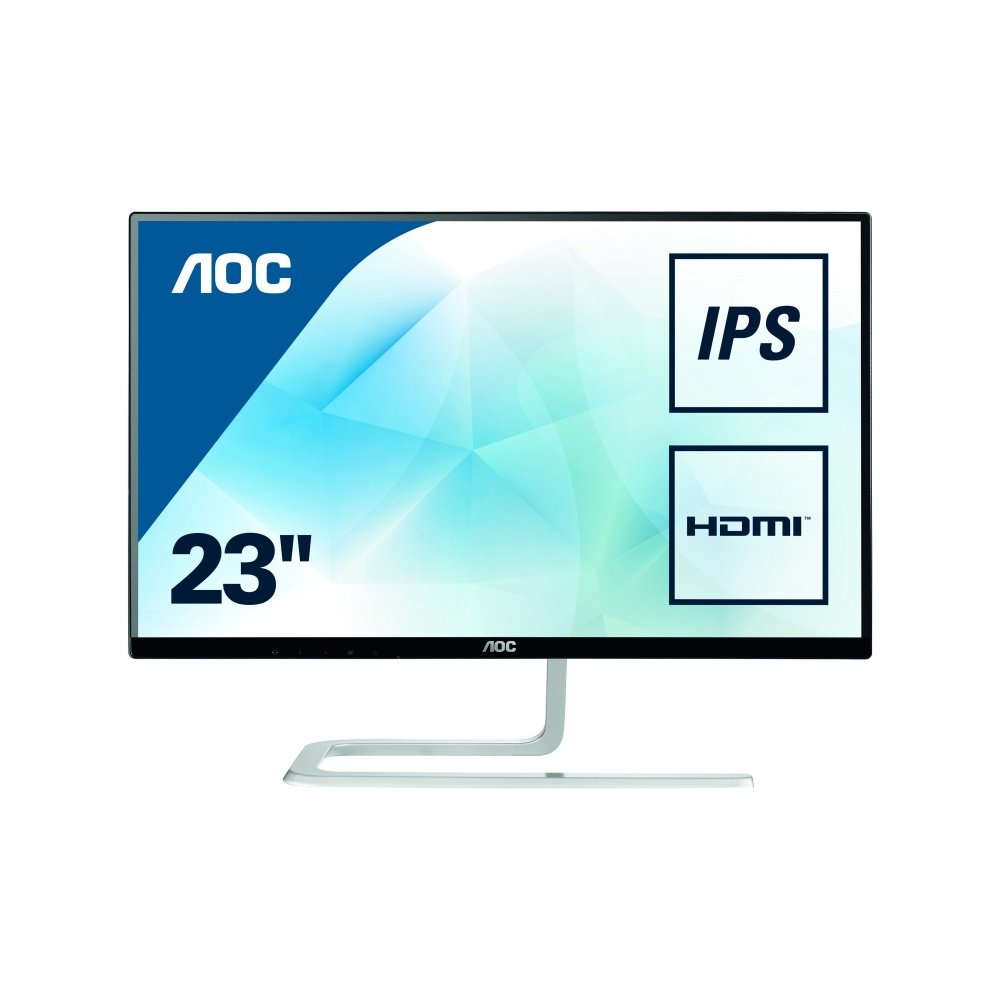 AOC I2281FWH Monitor LED da 21.5' IPS, FHD (1920 x 1080), Senza Bordi, Dsub, Hdmi, Nero/Grigio AOC International
