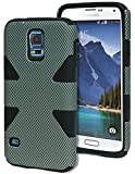 Bastex Heavy Duty Hybrid Carbon Fiber Case for Samsung Galaxy S5 i9600 - Black Silicone Cover with Grey Dots Design Hard Shell