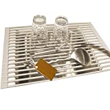 Roll-up Dish Drying Rack Stainless Steel Over the Sink Drainer Multipurpose Kitchen Drainer Rack GJ04
