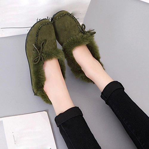 Elevin (tm) 2017 Donne Di Moda Eco-pelliccia Foderato In Pelle Scamosciata Comodità Pantofole Casa, Antiscivolo Inverno Coperta / Esterno Scarpe Mocassino Verde