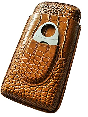 Cigar Case Travel - Cutter Included - Leather Color Light Brown - Personalized Cigar Case
