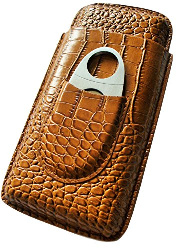 Price comparison product image Cigar Case Cigar Cases Travel - Cutter Included - Leather Cigar Case,  2 Colors (Light Brown)