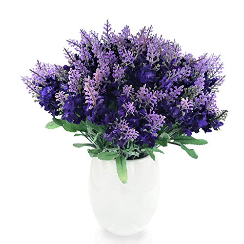 icial Lavender Silk Flower, 10 Bouquet Organic Purple Lavender Fake Flowers for Wedding Party Office Hotel Shop Christmas Home Decoration, Purple ()