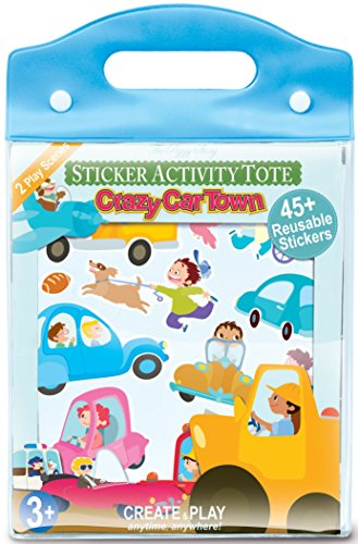 Sticker Activity Tote (The Piggy Story 'Crazy Car Town' Child's Reusable Cling Sticker Activity Tote for Portable Play)