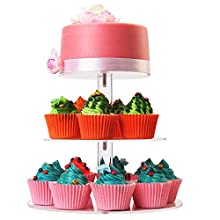WSCS 3 Tiers Round Cupcake Stand-Stacked Acrylic Clear Cake and Cupcake Display Stand-Maypole Cupcake Tower For Wedding Party