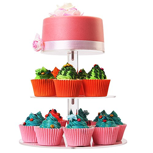 WSCS 3 Tiers Round Cupcake Stand-Stacked Acrylic Clear Cake and Cupcake Display Stand-Maypole Cupcake Tower For Wedding