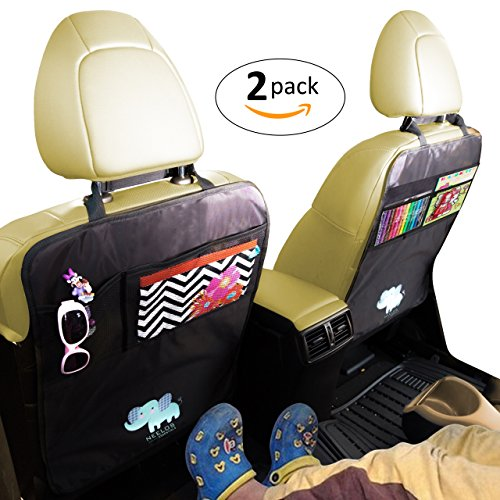 Superior Car Seat Back Protectors, Kick Mats With Organizer, 2 Pack with FREE GIFT - Best Backseat Protector, Universal Fit, Car Seat Covers - Must Have Car Accessories For Kids by Neelos Essentials