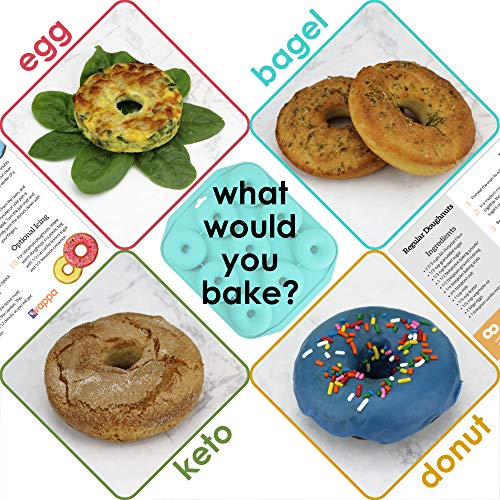 Large Donut Pan Super Non-Stick Silicone, Makes 9 Full Size Donuts, BPA Free, FDA & German LFGB Approved   Oven, Dishwasher and Freezer Safe Doughnut Mold, Bagel Pan with Bonus Recipe Card & Gift Bag by Wappa (Image #6)