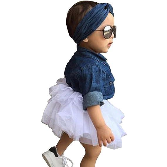 Sonnena bebé ninas mezclilla blusas de larga manga + lindo tutú vestido gasa + denim diadema