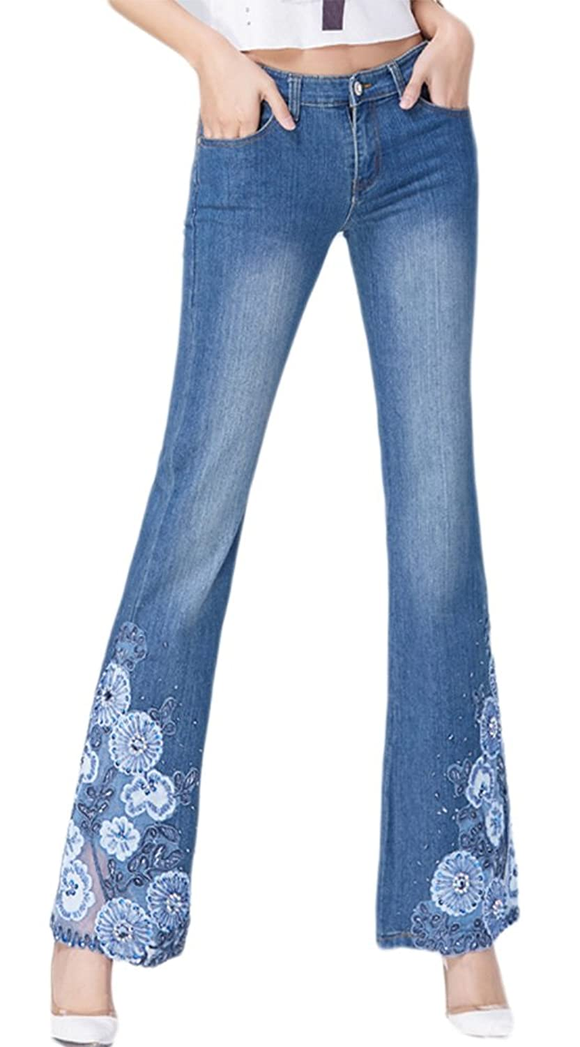 AvaCostume Womens Lace Embroidery Beading Bootcut Jeans