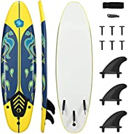 DORTALA Surfboard, 6' Stand Up Long Surfing Board with 3 Detachable Fins & Safety Leash, Non-Slip Ligh