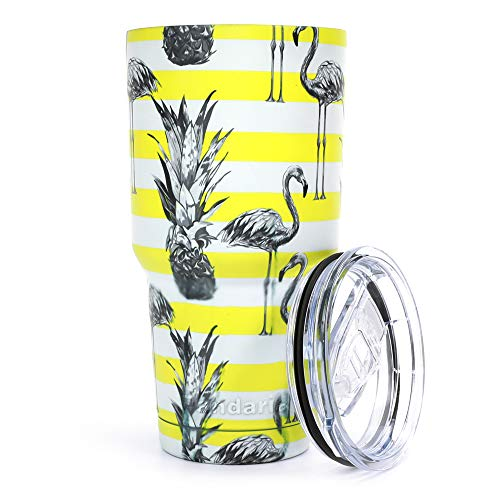 Pandaria 30 oz Stainless Steel Vacuum Insulated Tumbler with Lid - Double Wall Travel Mug Water Coffee Cup for Ice Drink & Hot Beverage, Flamingo Yellow