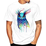 PRINCER Floral Skull Print T-Shirt Mens Funny Personality Tees, Summer Short Sleeve Slim Fit Shirts Causal Fashion Blouse Vest Top Pullover Plus Size S-32XL