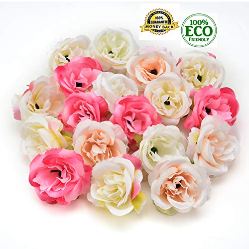 (silk flowers in bulk wholesale Fake Flowers Heads Mini Rose Fabric Artificial Flowers Wedding Party Home Interior Decoration Party Shoes Hat Accessories Silk Flowers 30pcs 4cm (Multicolor))