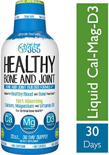 Liquid Calcium Magnesium with Vitamin D3 Liquid Sleep by Feel Great 365, Supports Back Pain*, Promotes Bone and Joint Health and a Good Night Sleep*, Gluten Free, Sugar Free, and Dairy Free