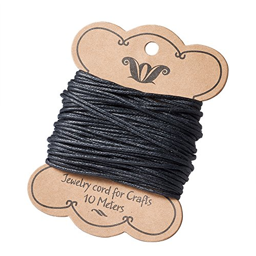 Pandahall 11Yards/10M 1mm Cotton Polyester Waxed Cord Macrame String Linen Thread Wire Black Jewelry Making Beading Necklace Making Leathercraft Supplies ()