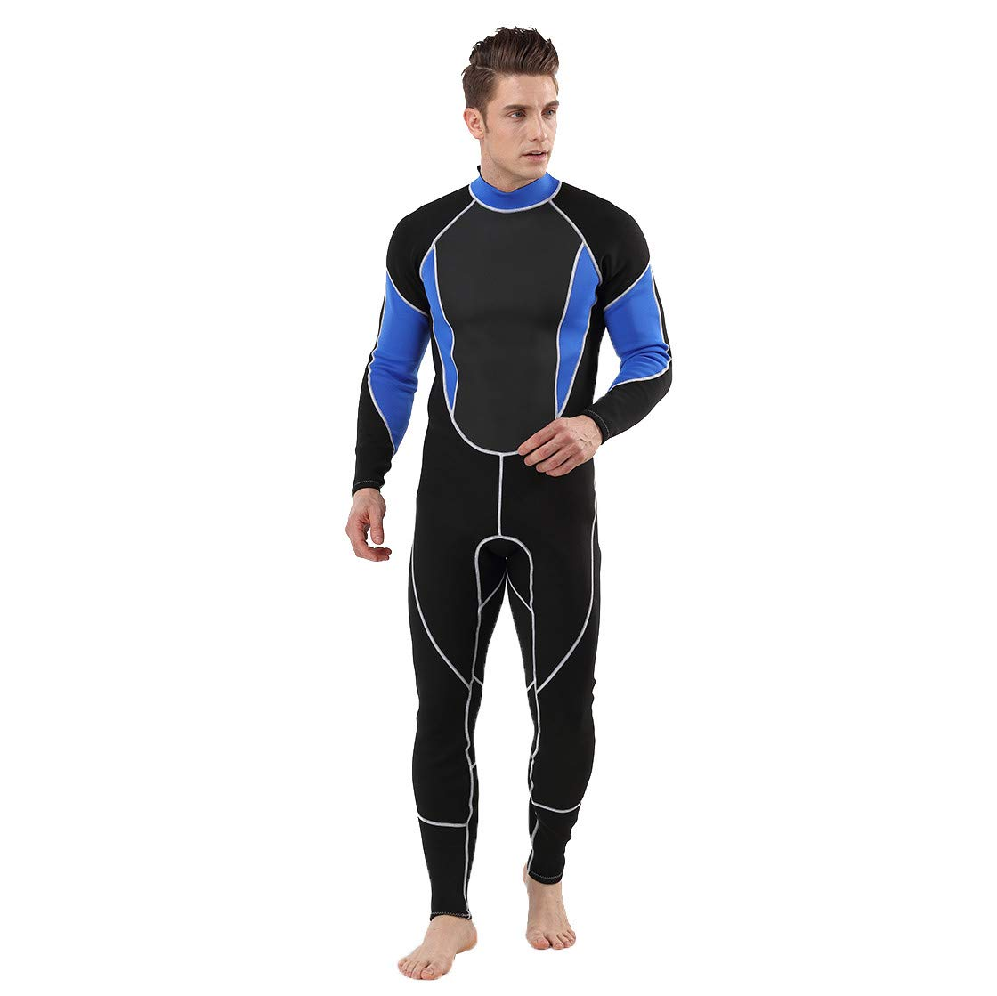 Allywit Wetsuit 3MM Full Body Suit Super Stretch Diving Suit Swim Surf Snorkeling Swimming Jumpsuit Blue