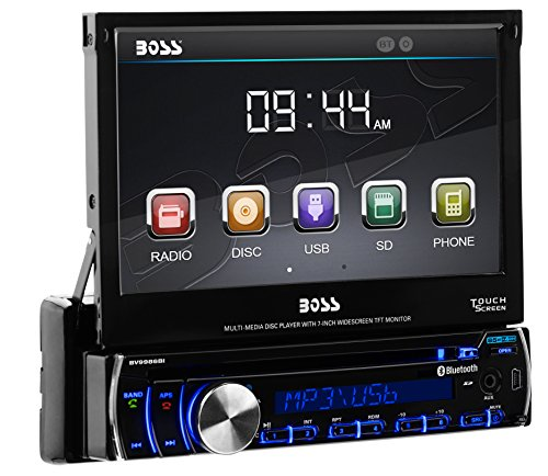 BOSS Audio BV9986BI Single Din, Touchscreen, Bluetooth, DVD/CD/MP3/USB/SD AM/FM Car Stereo, 7 Inch Digital LCD Monitor, Detachable Front Panel, Wireless Remote, Multi-Color (Gt Legend Wheels)