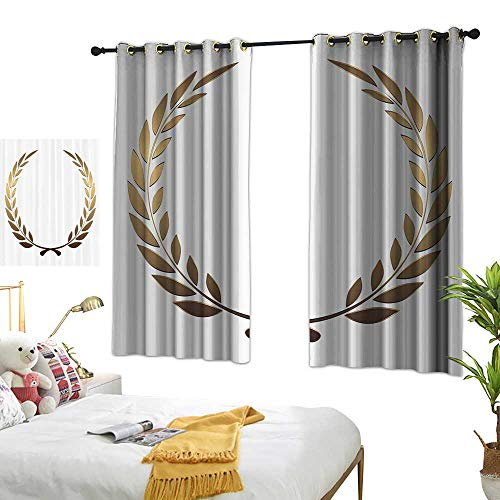 Warm Family Double Curtain Rod Gold,Ancient Circular Laurel Wreath with Interlocking Branches and Evergreen Leaves Design,Gold White 84