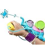 Kids Summer Toy Elephant Wrist Water Gun Blaster Pistol Bath Toys for Outdoor Sports Beach Games+1 Free Mini Water Gun