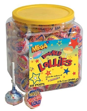 Mega Double Lollies: 60 Count (Double Lollies Tub)
