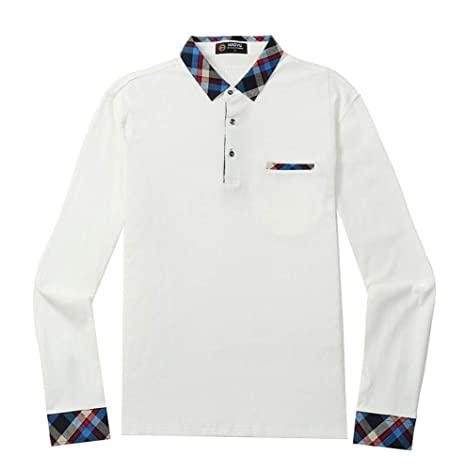 NISHIPANGZI Hombres Camiseta Polo de algodón de Manga Larga de ...