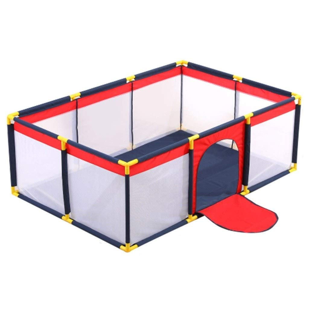 Baby playpen Playpen, Lightweight Square Baby Playpen Foldable Perspective Net Waterproof Baby Safety Bar (Color : Red, Size : 65130190cm) by LIL Baby playpen