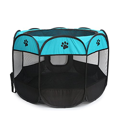 XNBAMB Pet Puppy Dog and Cat Playpen Exercise Pen Kennel 600D Oxford Cloth,29''×29''×18'' (Blue-black)