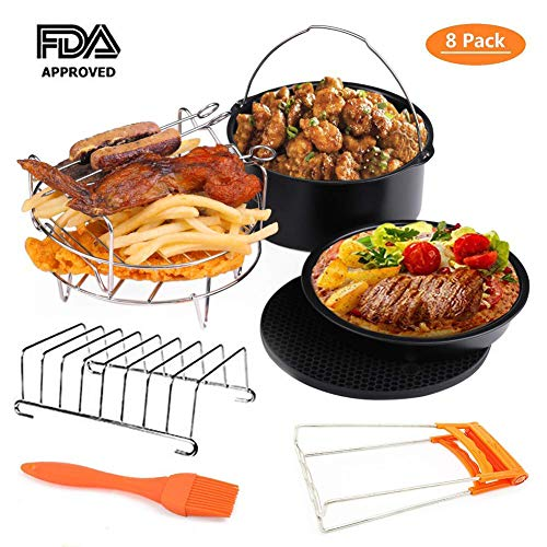 Deep Fryers Universal Air Fryer Accessories XL Including 8 Inch Cake Barrel,Baking Dish Pan,Grill,Pot Pad, Pot Rack, Berad Rack with Silicone Mat by Bellagione (8 Inch)