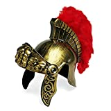 Roman Soldier Legion Gladiator Helmet - Costume Armor - Centurion Gold Headgear w/ Red Feather Plume
