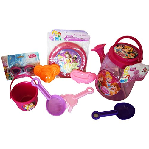 FAVORITE My Royal Princess Disney Beach and Pool 9 Piece Playdate Platinum Bundle: 3 Items- Royal Watering Can Set (7 pcs), Flying Disc, & Splash Goggles