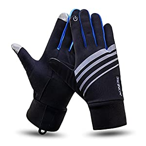Men & Women Thin Lightweight Thermal Winter Touch Screen Reflective Running/Jogging/Driving/Cycling Sport Athletic Gloves For Cold Weather Blue L/XL