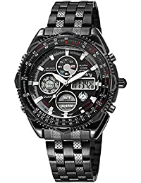 Mens Military Tactical Sport Watch Analog Digital Wrist Watches for Men Stainless Steel Band