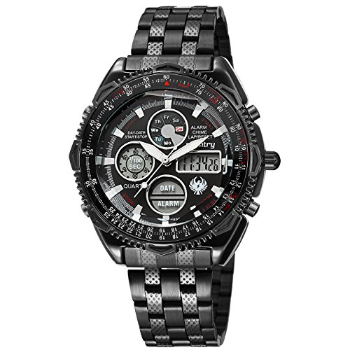 (Infantry Mens Military Tactical Sport Watch Analog Digital Wrist Watches for Men Stainless Steel Band)