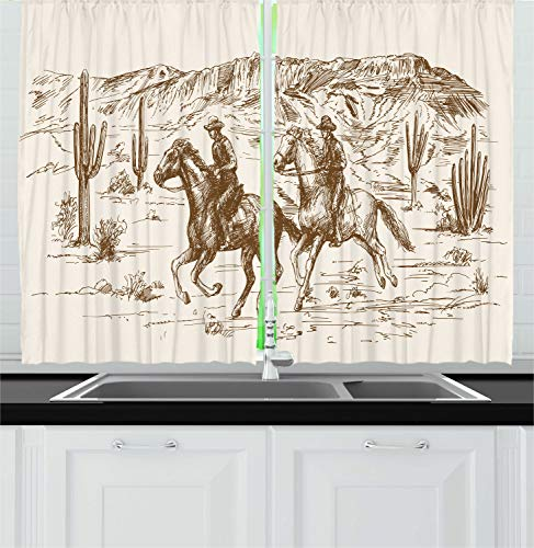 Ambesonne Western Kitchen Curtains, Country Theme Hand Drawn Illustration of American Wild West Desert with Cowboys, Window Drapes 2 Panels Set for Kitchen Cafe, 55W X 39L Inches, Cream Umber