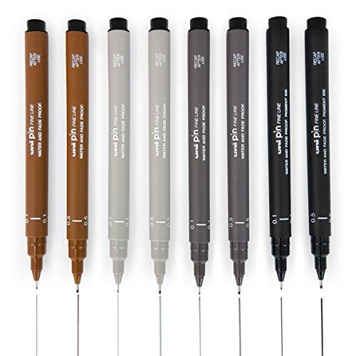 Uni Pin Fineliner Drawing Pen - Sketching Set of 8-0.1mm/0.5mm - Black, Dark Grey, Light Grey, and Sepia