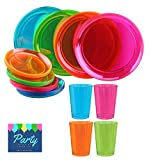 Neon Party Supplies Pack for 16 Guests Including: Large Plastic Plates, Appetizer or Dessert Plates and Tumblers