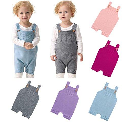 c2a907e6899e Voberry Newborn Baby Knit Overalls Toddler Boy Girl Knit Romper ...