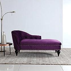 Divano Roma Furniture Modern and Elegant Kid's Velvet Chaise Lounge for Living Room or Bedroom (Dark Purple)