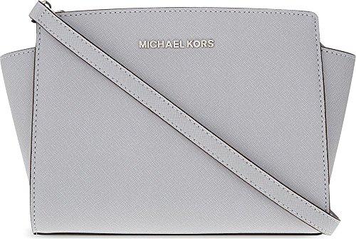 Michael Kors Women's Selma Medium Messenger Cross-Body Bag Gray Light Grey