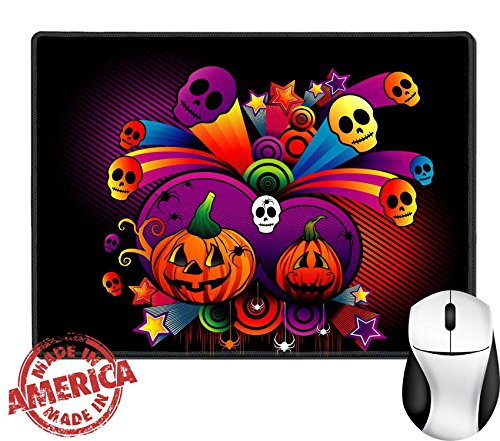 "Luxlady Natural Rubber Mouse Pad/Mat with Stitched Edges 9.8"" x 7.9"" vector illustration of halloween characters with cool background IMAGE ID 3691884"